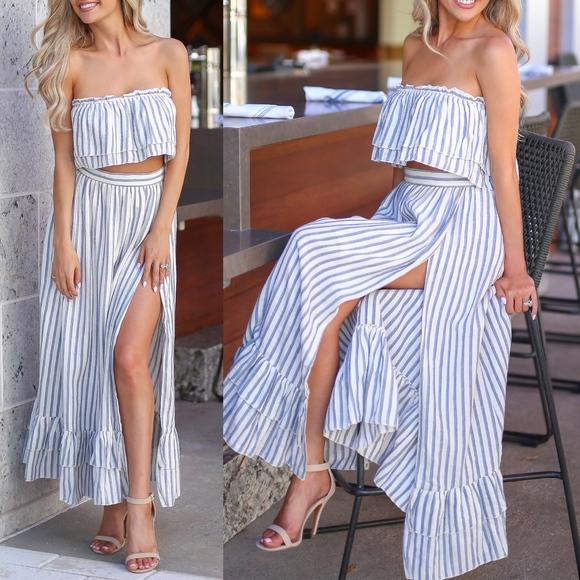 Bellanblue Dresses & Skirts - BRITTANIE Stripe Skirt Set - BLUE